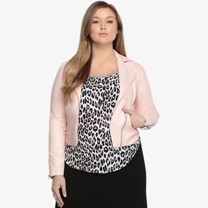 Torrid Faux Leather Moto Jacket Pink Size 4X